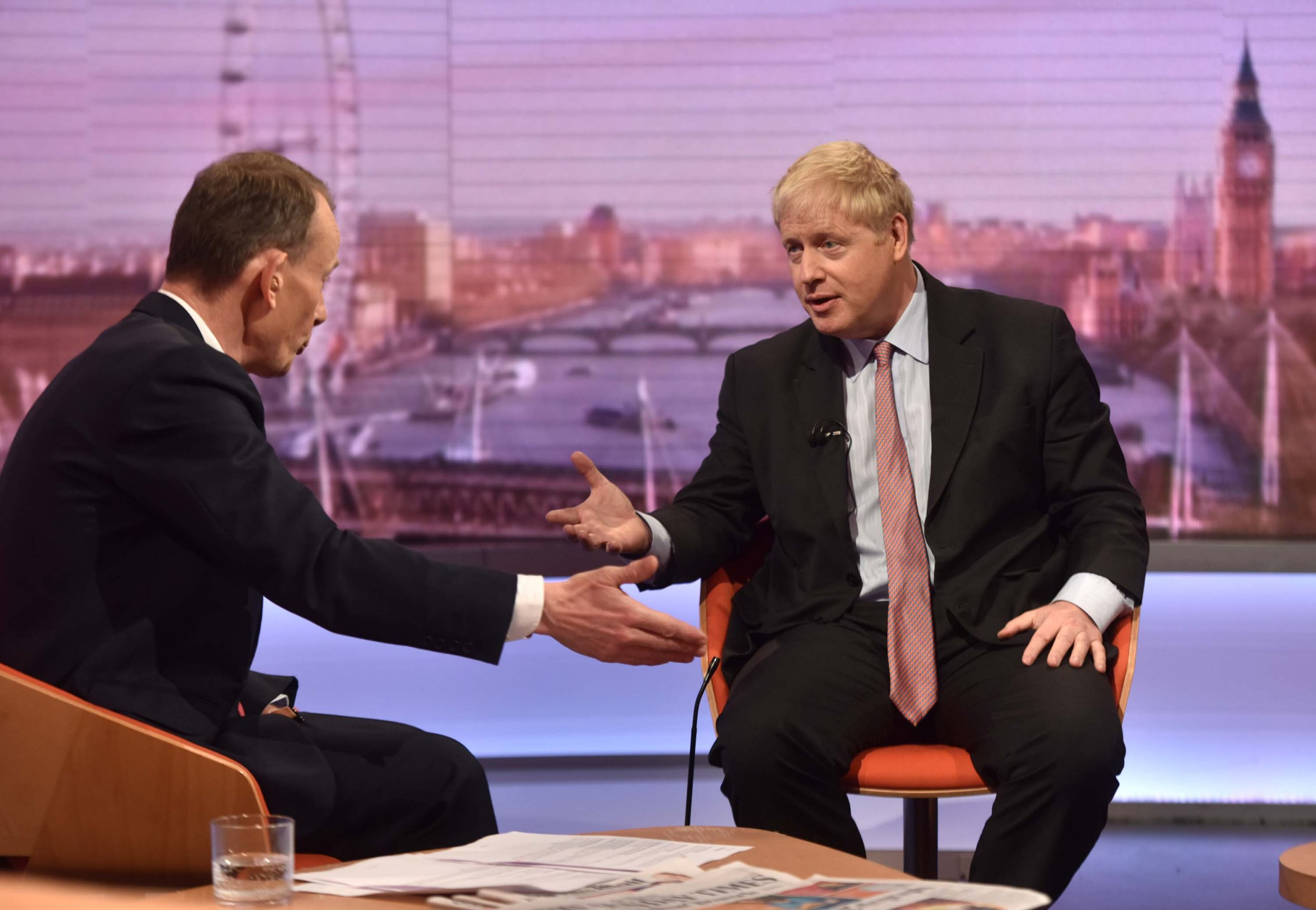 For use in UK, Ireland or Benelux countries only BBC handout photo of Boris Johnson speaking to host Andrew Marr, during the BBC1 current affairs programme, The Andrew Marr Show. PRESS ASSOCIATION Photo. Picture date: Sunday December 09, 2018. See PA story POLITICS Brexit. Photo credit should read: Jeff Overs/BBC/PA Wire NOTE TO EDITORS: Not for use more than 21 days after issue. You may use this picture without charge only for the purpose of publicising or reporting on current BBC programming, personnel or other BBC output or activity within 21 days of issue. Any use after that time MUST be cleared through BBC Picture Publicity. Please credit the image to the BBC and any named photographer or independent programme maker, as described in the caption.