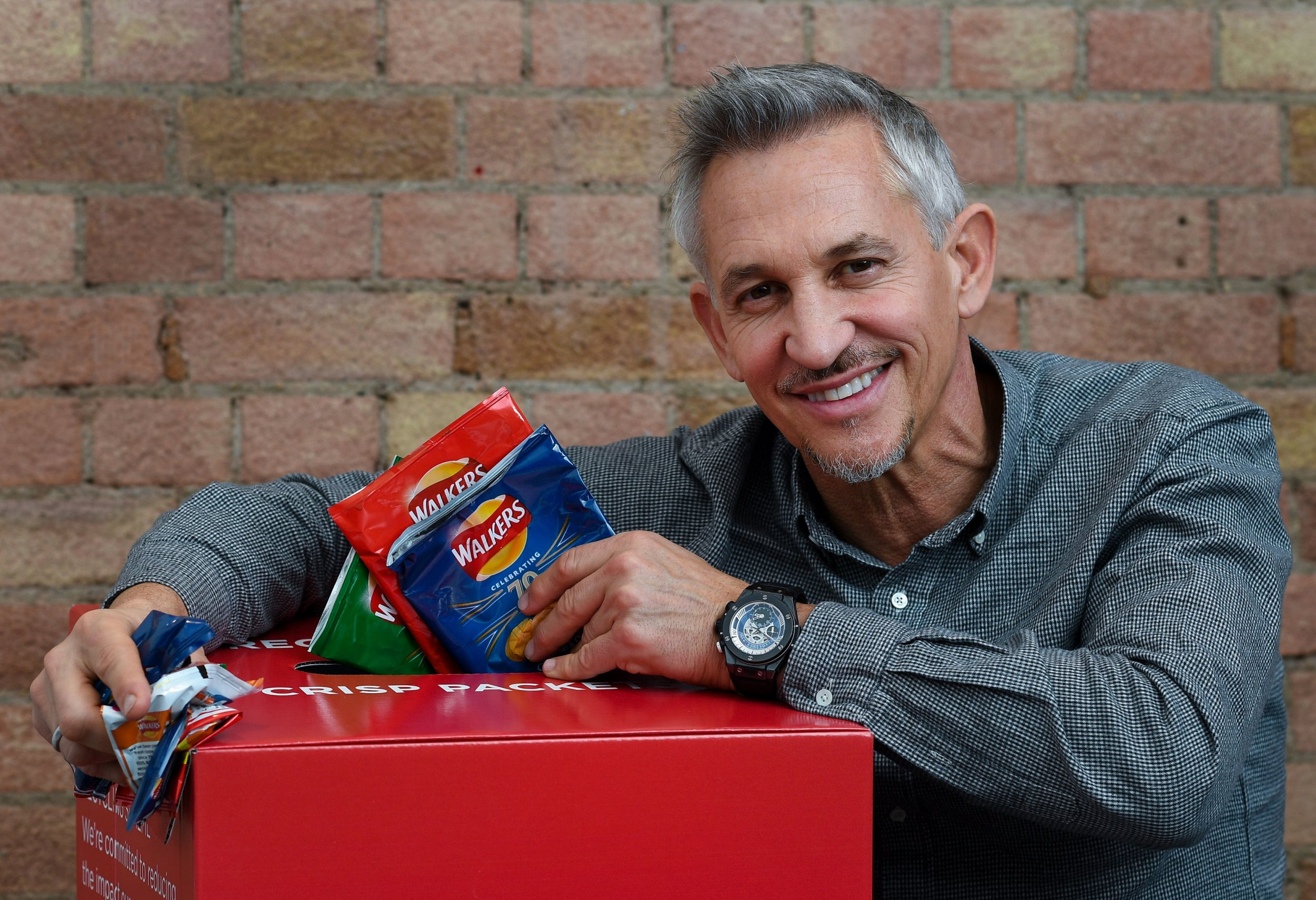 MANDATORY CREDIT: Andrew Parsons/Parsons Media Undated Walkers handout photo of Gary Lineker giving his backing to the Walkers crisp packet recycling scheme. Walkers has won the backing of Environment Secretary Michael Gove as it launches a recycling scheme in response to a public campaign against plastic waste. PRESS ASSOCIATION Photo. Issue date: Monday December 10, 2018. See PA story CONSUMER Crisps. Photo credit should read: Andrew Parsons/Parsons Media/PA Wire NOTE TO EDITORS: This handout photo may only be used in for editorial reporting purposes for the contemporaneous illustration of events, things or the people in the image or facts mentioned in the caption. Reuse of the picture may require further permission from the copyright holder.