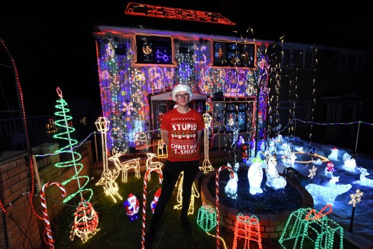 PIC FROM Caters News - (PICTURED: Thomas Wheatley, 24, has spent 26,000 on a fancy Christmas light show at his home in Birmingham) - This festive tech junkie has spent 26,000 on a fancy Christmas light show which cost nearly as much as his house.Tree surgeon Thomas Wheatley, 24, has created the displays at his parents three-bedroom home in Birmingham, which they bought for 30,000 30 years ago, for the last 14 years.He first got a taste for creating the perfect yuletide light show by helping his mum and dad put up their own decorations in 2004, when he was just a youngster.SEE CATERS COPY