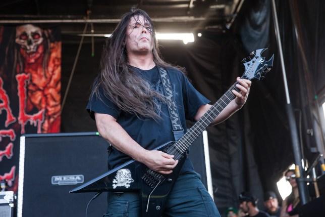 SAN BERNARDINO, CA - JULY 05: Guitarist Patrick O'Brien of Cannibal Corpse performs at the Rockstar Energy Mayhem Festival on July 5, 2014 in San Bernardino, California. (Photo by Chelsea Lauren/WireImage)