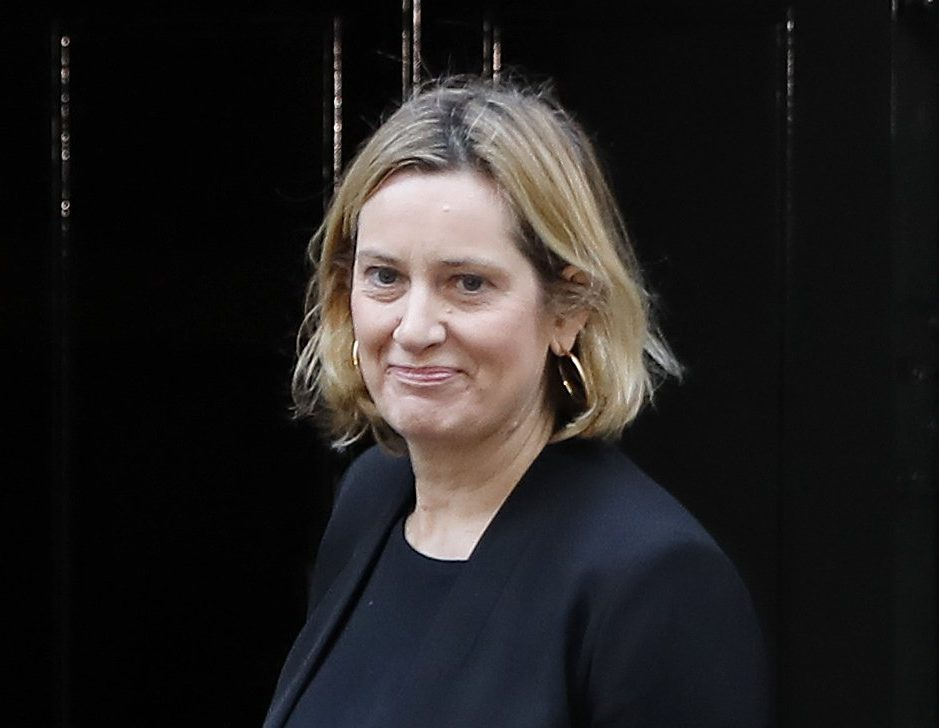Britain's former Home Secretary Amber Rudd arrives at 10 Downing Street in London on November 13, 2018. - Prime Minister Theresa May today faced her divided ministers as negotiators scrambled to secure a divorce agreement with the European Union and anxiety mounted over the risk of a no-deal Brexit. (Photo by Tolga AKMEN / AFP) (Photo credit should read TOLGA AKMEN/AFP/Getty Images)