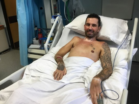 David Braham pictured in hospital recovering from a curry induced paralysis. See SWNS story SWOCcurry; A gym-mad dad was paralysed from the nose down by a rare immune disorder triggered by -- a chicken CURRY. David Braham, 40, became unwell while watching his son play rugby after the dodgy meal and within a matter of days was fighting for his life in an induced coma. Medics discovered he was suffering from food poisoning which caused the rare autoimmune disorder Guillian-Barr? Syndrome. The dad-of-two was left paralysed from the face down, unable to talk, and ended up on a ventilator for four months, unable to breathe on his own.