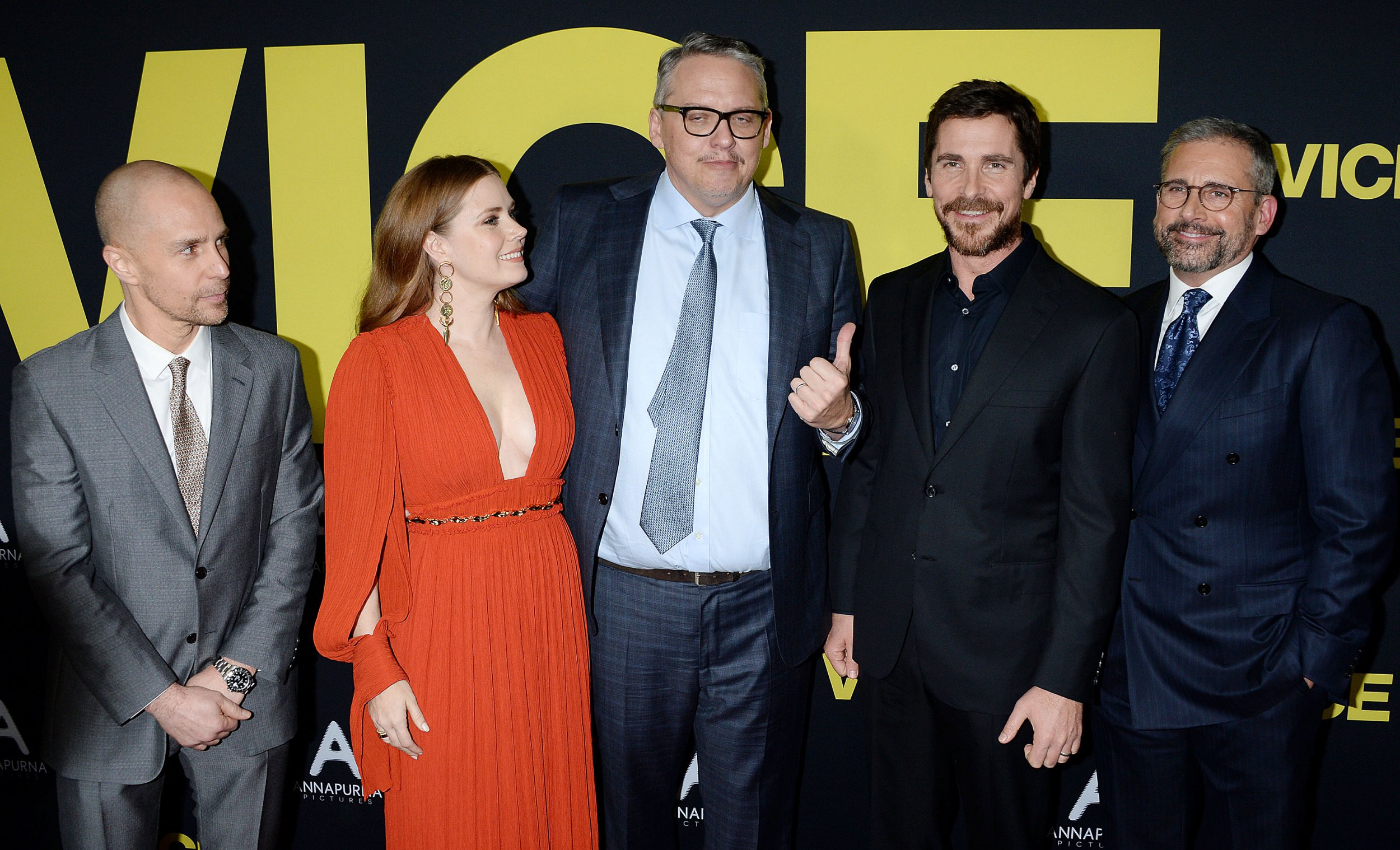 World Premiere of VICE in Los Angeles. 11 Dec 2018 Pictured: Amy Adams, Adam McKay, Sam Rockwell, Steve Carell, Christian Bale . Photo credit: MEGA TheMegaAgency.com +1 888 505 6342