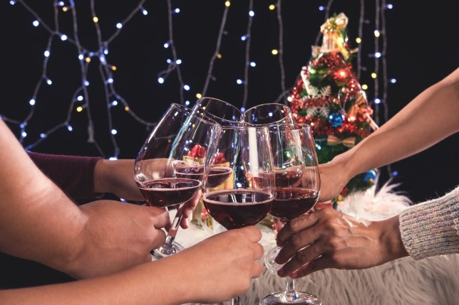 Friends celebrating Christmas or New Year eve party, cheering with wine, christmas lights decoration background, christmas atmosphere.; Shutterstock ID 742006378; Purchase Order: -