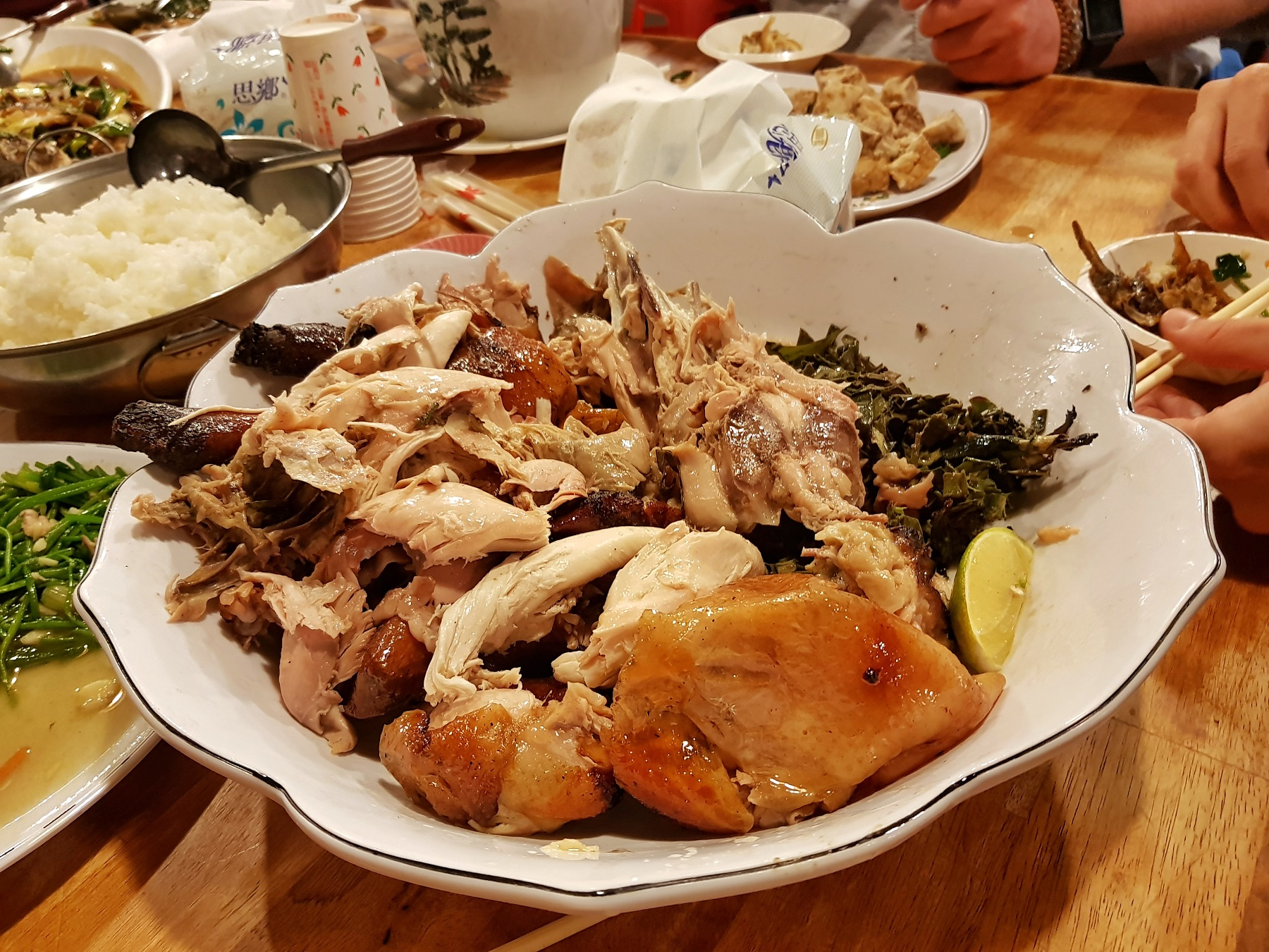A jar cooked chicken all shredded up (Picture: Qin Xie)