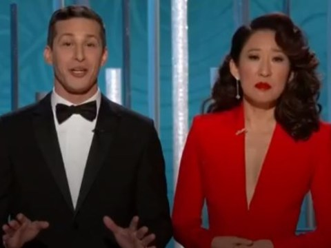 Golden Globes 2019: Sandra Oh and Andy Samberg mock Lady Gaga's '100 people' speech as they open ceremony with a bang