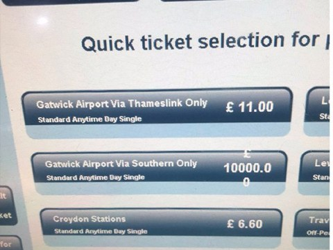 Commuter charged £10,000 for train ticket from London to Gatwick