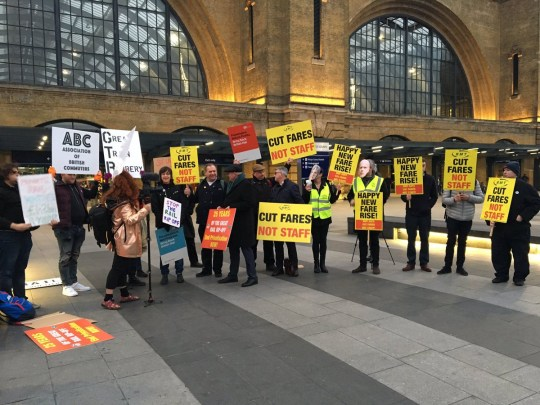METRO GRAB - @We_OwnIt Twitter no permission - part of protest King's Cross Rail Fare rise protest Credit: We_OwnIt