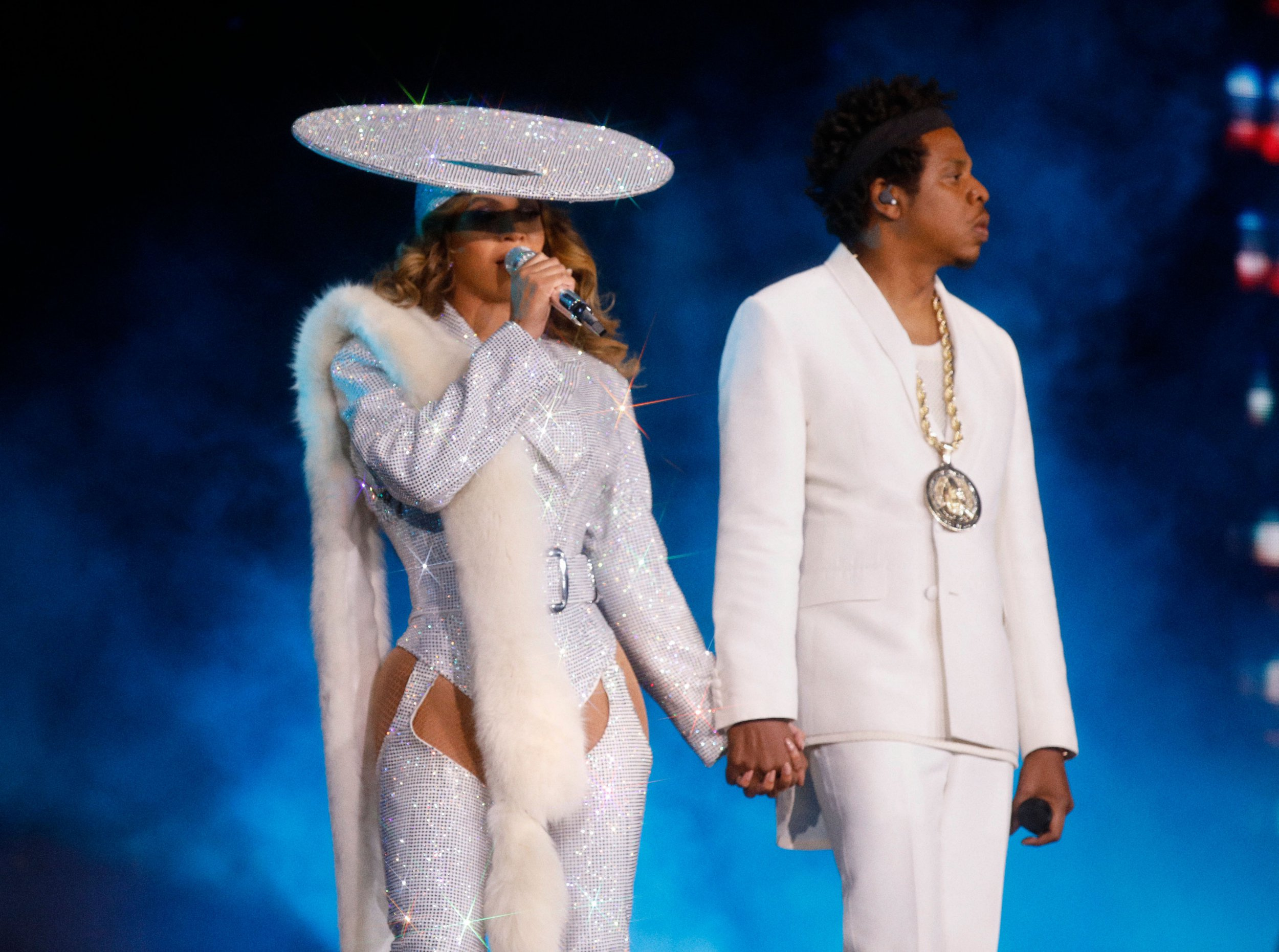 Beyonce and Jay-Z in concert, 'On The Run II Tour', Vancouver, Canada last year