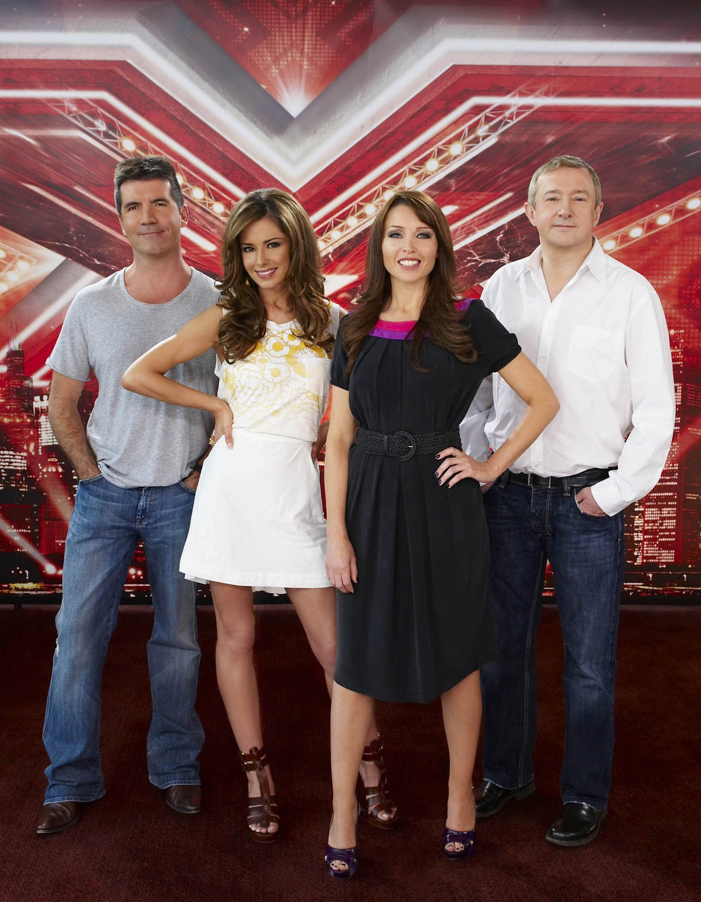 Television programmes: The X Factor. Series 5 of The X Factor kicks off with a new judging line-up with CHERYL COLE joining SIMON COWELL, LOUIS WALSH and DANNII MINOGUE as the four travel the length and breadth of Britain looking for a new singing sensation. A TALKBACK THAMES PRODUCTION FOR ITV THIS IMAGE IS STRICTLY EMBARGOED UNTIL 00.01 ON TUESDAY 12 AUGUST 2008 This photograph is (C) ITV Plc and can only be reproduced for editorial purposes directly in connection with the programme or event mentioned above, or ITV plc. Once made available by ITV plc Picture Desk, this photograph can be reproduced once only up until the transmission [TX] date and no reproduction fee will be charged. Any subsequent usage may incur a fee. This photograph must not be manipulated [excluding basic cropping] in a manner which alters the visual appearance of the person photographed deemed detrimental or inappropriate by ITV plc Picture Desk. This photograph must not be syndicated to any other company, publication or website, or permanently archived, without the express written permission of ITV Plc Picture Desk. Full Terms and conditions are available on the website www.itvpictures.com Copyright: Talkback Thames Photographer: Ken McKay Picture Source: Digital Picture Contact: SHANE CHAPMAN 084488 13043