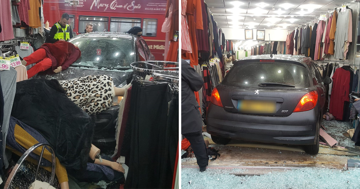 Mannequin bloodbath after car crashes into shop following police chase