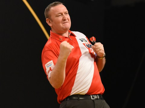 Glen Durrant reacts to being handed World Matchplay Darts 'tie of the round' against Adrian Lewis
