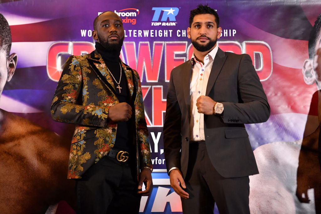 Terence Crawford and Amir Khan face off at a press conference