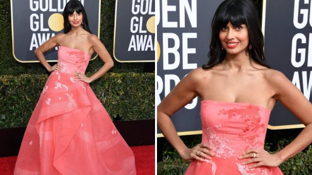 Jameela Jamil is hiding jeans under her Golden Globes 2019 gown because comfort is everything