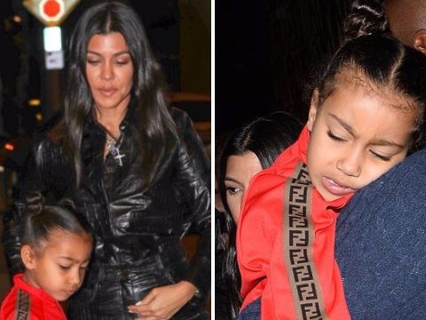 North West struggles to keep up with the Kardashians as she falls asleep during family meal