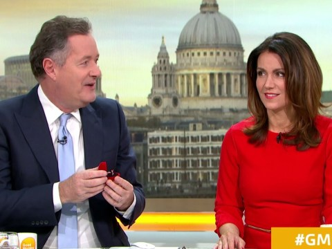Piers Morgan tries his luck with Susanna Reid by proposing with £1 'tinny' engagement ring