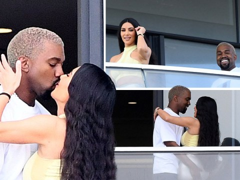 Kim Kardashian and Kanye West look all loved up as they lock lips amid pregnancy rumours