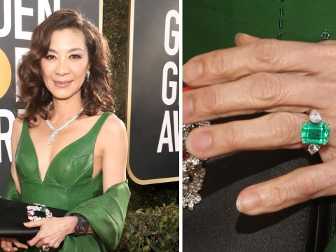 Michelle Yeoh wears that jaw-dropping Crazy Rich Asians emerald ring to the Golden Globes 2019