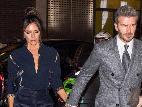Victoria and David Beckham continue the public display of affection after kissing at LFW show