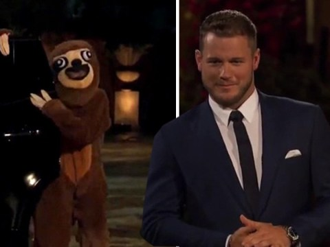 The Bachelor's Colton Underwood rejects hilarious woman dressed as a sloth – scores three kisses on first night