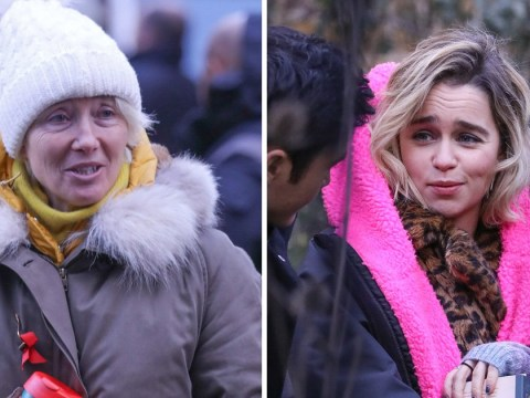 Emilia Clarke and Emma Thompson look absolutely freezing as they rug up on set in London