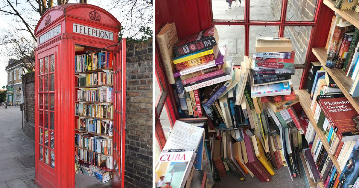 Red phone box in Lewisham has been converted into a mini library