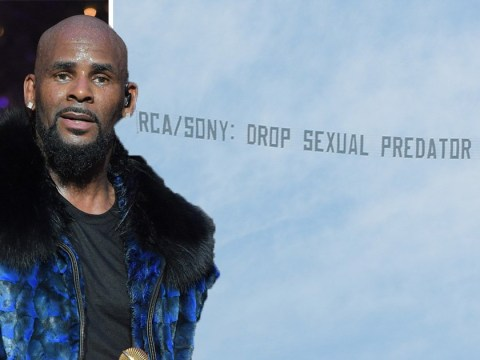 R Kelly protest banner flies over Sony HQ demanding label drops singer amid sexual assault claims