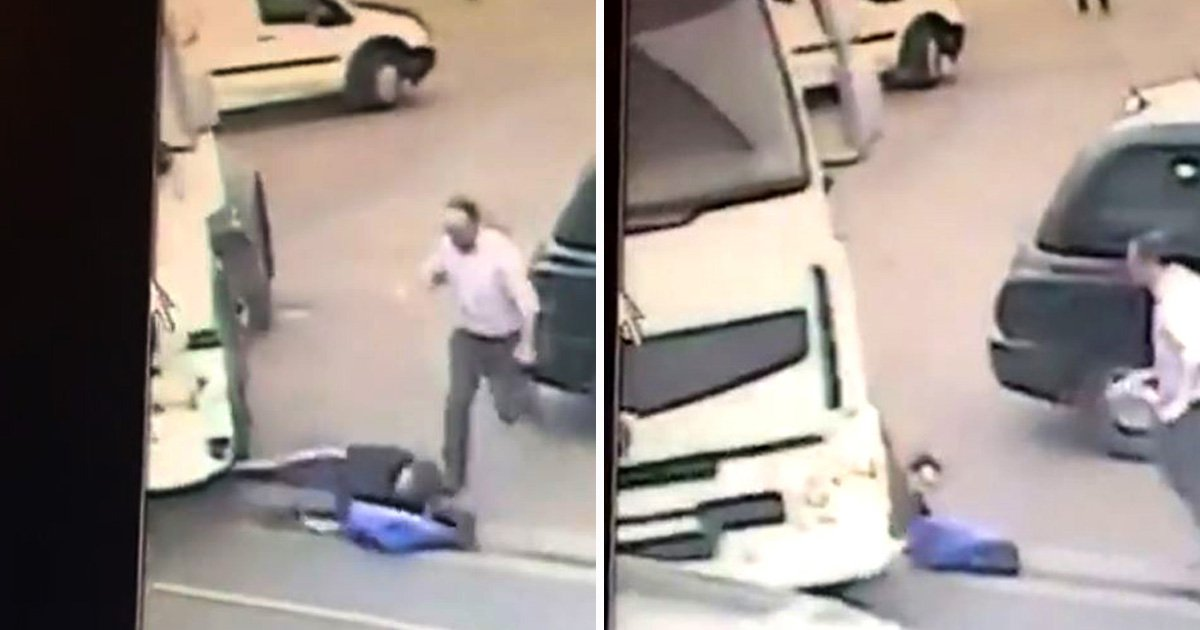 Moment suspected shoplifter is run over by lorry as he runs out of Tesco