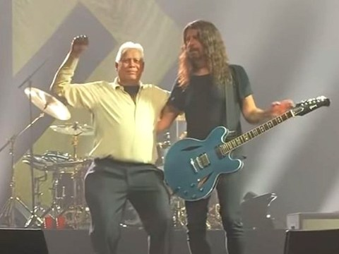 Dave Grohl not drunkest man in the room as Foo Fighters stage invader chugs his birthday champagne