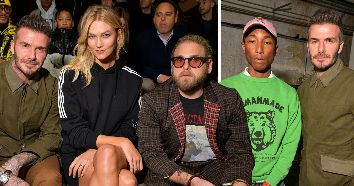 David Beckham enjoys star-studded Paris Fashion Week as he poses with Pharrell Williams, Jonah Hill and Karlie Kloss