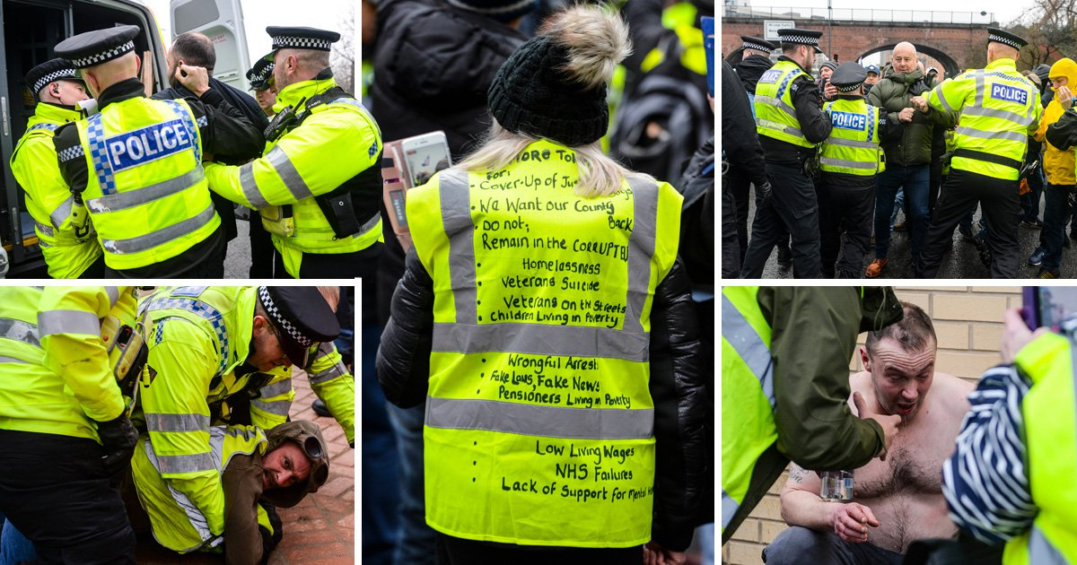 Brawls break out as 'yellow vest' protesters march against 'corrupt government' in Leeds