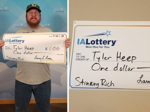 Lottery winner asked to get $1 prize paid on giant cheque