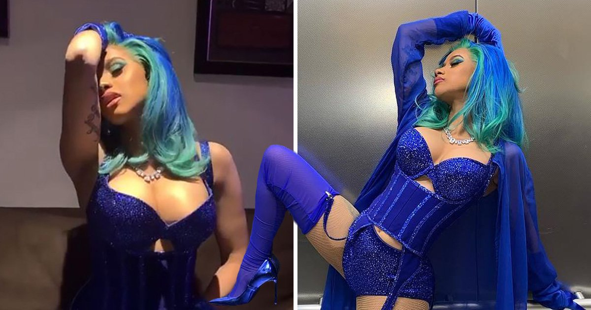 Cardi B reminds Offset what he could have lost as she poses in bright blue lingerie at the AVNs