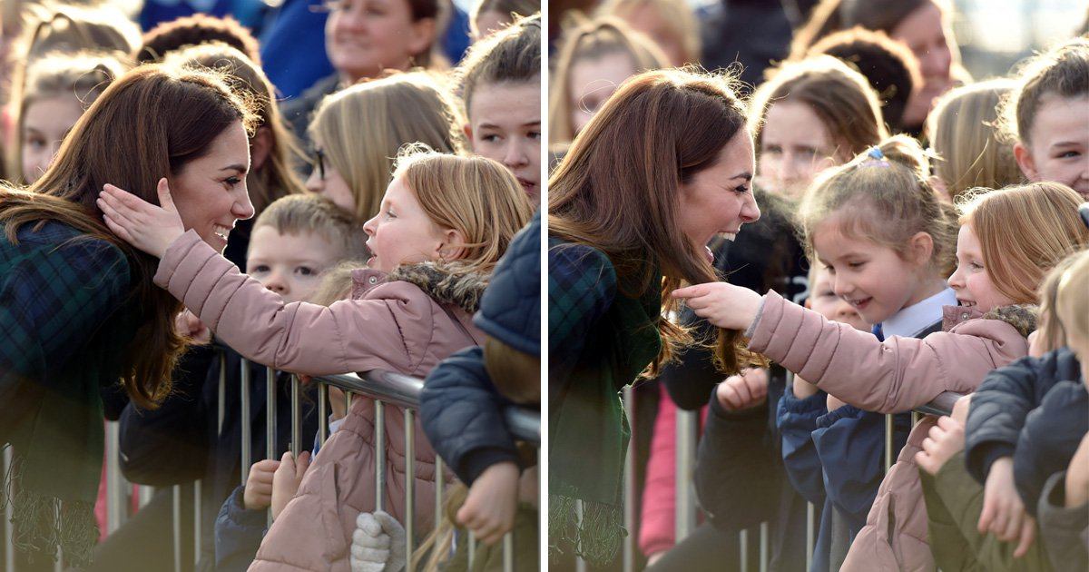 Little girl couldn't keep her hands off Kate's shiny hair during meet and greet