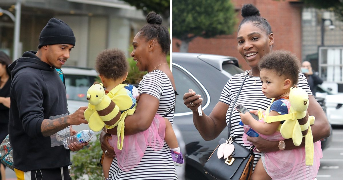 Serena Williams bumps into Lewis Hamilton at jewellers and he goes absolutely ga-ga over baby Olympia