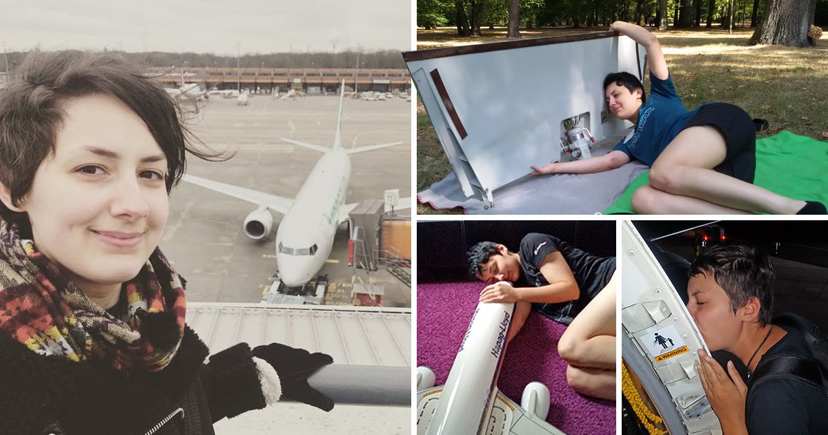 Woman in long-distance relationship with a plane loves his wings and thrusters