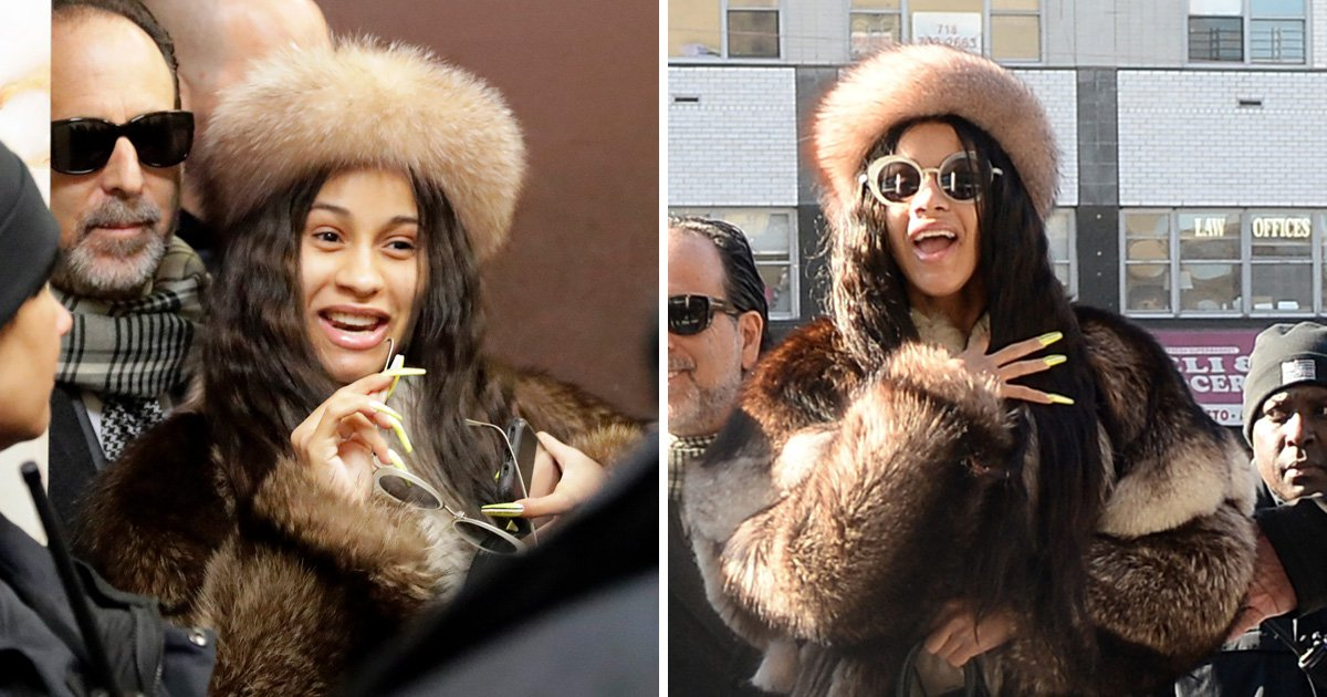 Cardi B sports a giant fur coat as she arrives in court over strip club assault charges