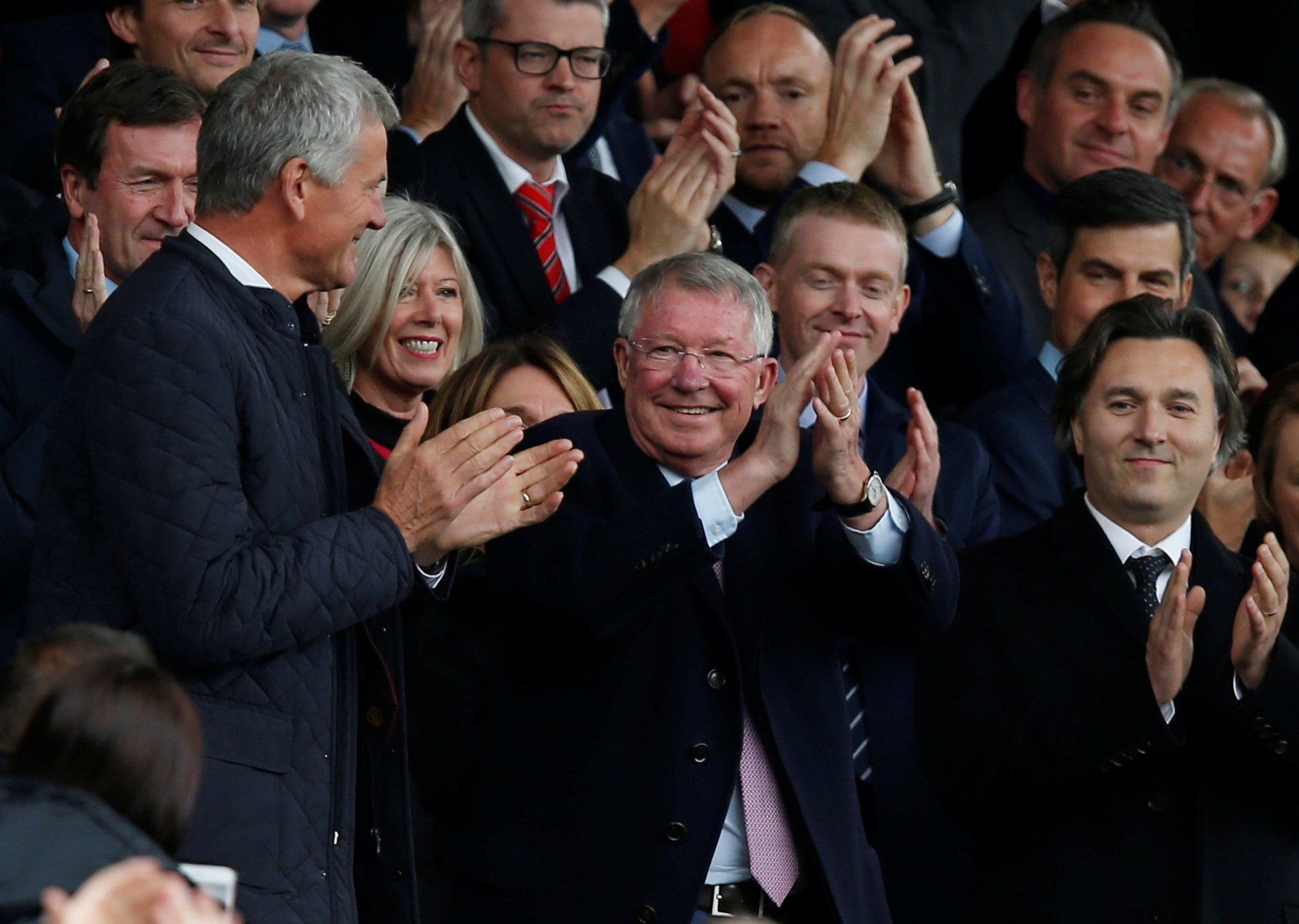 """Soccer Football - Premier League - Manchester United v Wolverhampton Wanderers - Old Trafford, Manchester, Britain - September 22, 2018 Sir Alex Ferguson and FIFA Council vice-president David Gill in the stands before the match REUTERS/Andrew Yates EDITORIAL USE ONLY. No use with unauthorized audio, video, data, fixture lists, club/league logos or """"live"""" services. Online in-match use limited to 75 images, no video emulation. No use in betting, games or single club/league/player publications. Please contact your account representative for further details."""