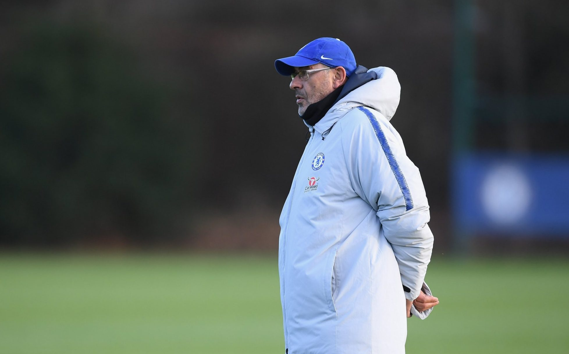 COBHAM, ENGLAND - NOVEMBER 30: Maurizio Sarri of Chelsea during a training session at Chelsea Training Ground on November 30, 2018 in Cobham, England. (Photo by Darren Walsh/Chelsea FC via Getty Images)