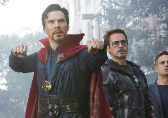 Avengers: Endgame's Iron Man (Robert Downey Jr) and Doctor Strange (Benedict Cumberbatch)