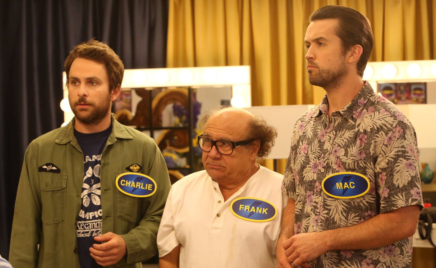 "IT'S ALWAYS SUNNY IN PHILADELPHIA ""The Gang Goes on Family Fight"" -- Episode 8 Airs Wednesday, March 4, 10:00 PM e/p) Pictured: (L-R) Charlie Day as Charlie Kelly, Danny DeVito as Frank Reynolds, Rob McElhenney as Mac. CR: Patrick McElhenney/FX"