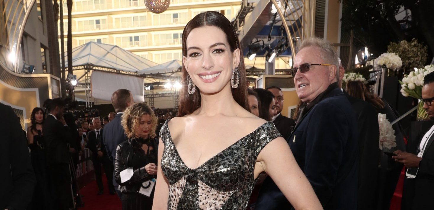 BEVERLY HILLS, CA - JANUARY 06: 76th ANNUAL GOLDEN GLOBE AWARDS -- Pictured: Anne Hathaway arrives to the 76th Annual Golden Globe Awards held at the Beverly Hilton Hotel on January 6, 2019. -- (Photo by Todd Williamson/NBC/NBCU Photo Bank)