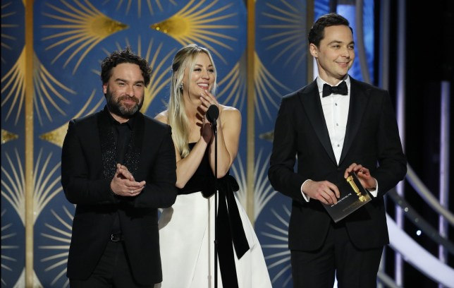 BEVERLY HILLS, CALIFORNIA - JANUARY 06: In this handout photo provided by NBCUniversal, Presenters Johnny Galecki, Kelly Cuoco and Jim Parsons speak onstage during the 76th Annual Golden Globe Awards at The Beverly Hilton Hotel on January 06, 2019 in Beverly Hills, California. (Photo by Paul Drinkwater/NBCUniversal via Getty Images)