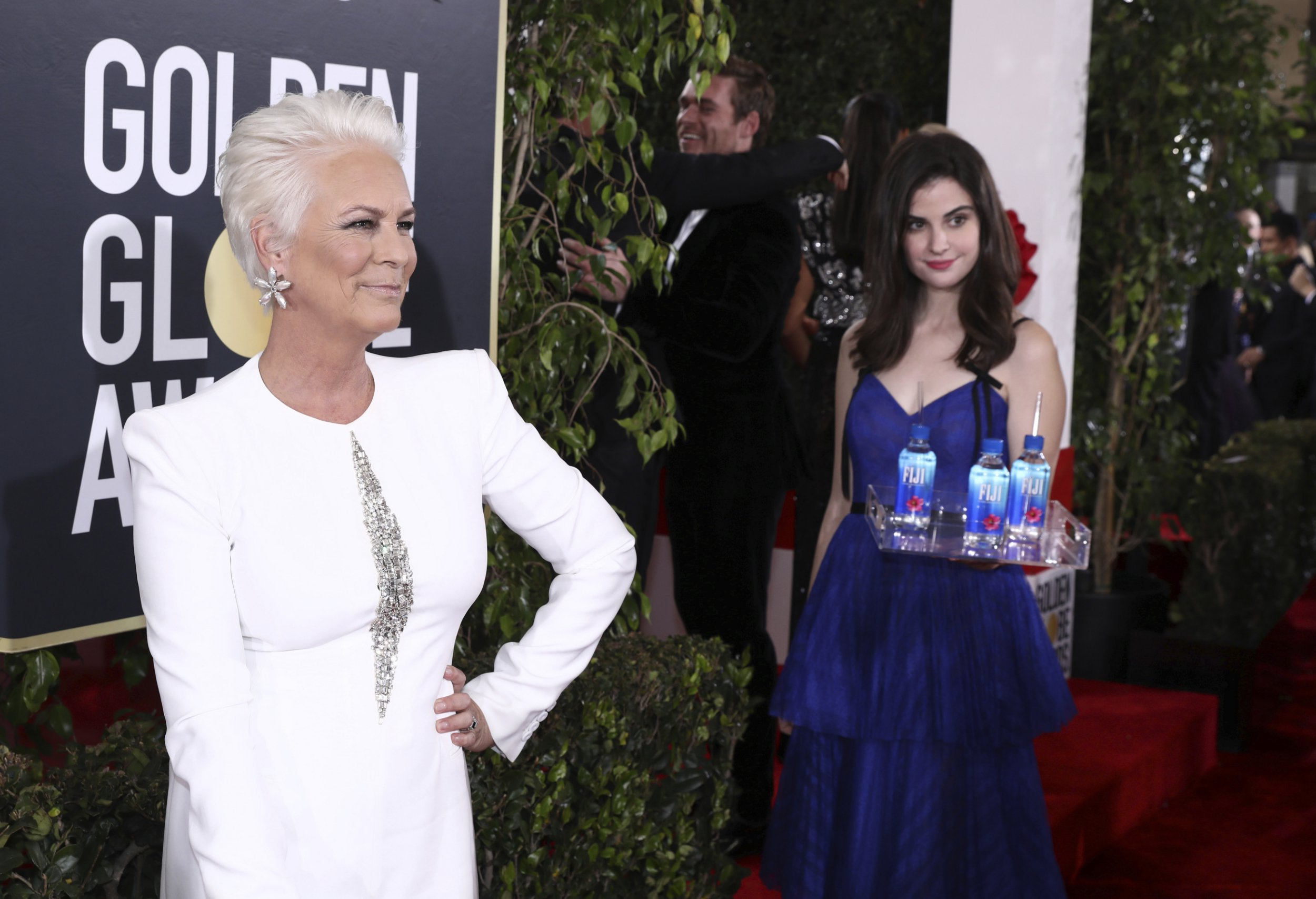 IMAGE DISTRIBUTED FOR FIJI WATER - Jamie Lee Curtis at the 76th annual Golden Globe?? Awards with FIJI Water on Sunday, Jan. 6, 2019 in Beverly Hills, Calif. (Photo by Matt Sayles/Invision for FIJI Water/AP Images)
