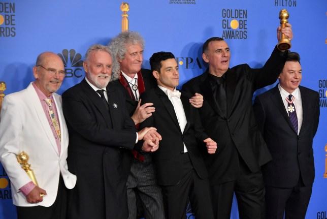 Mandatory Credit: Photo by Rob Latour/REX (10048070dv) Jim Beach, Roger Taylor, Brian May, Rami Malek, Graham King and Mike Meyers- Best Motion Picture, Drama - 'Bohemian Rhapsody' 76th Annual Golden Globe Awards, Press Room, Los Angeles, USA - 06 Jan 2019