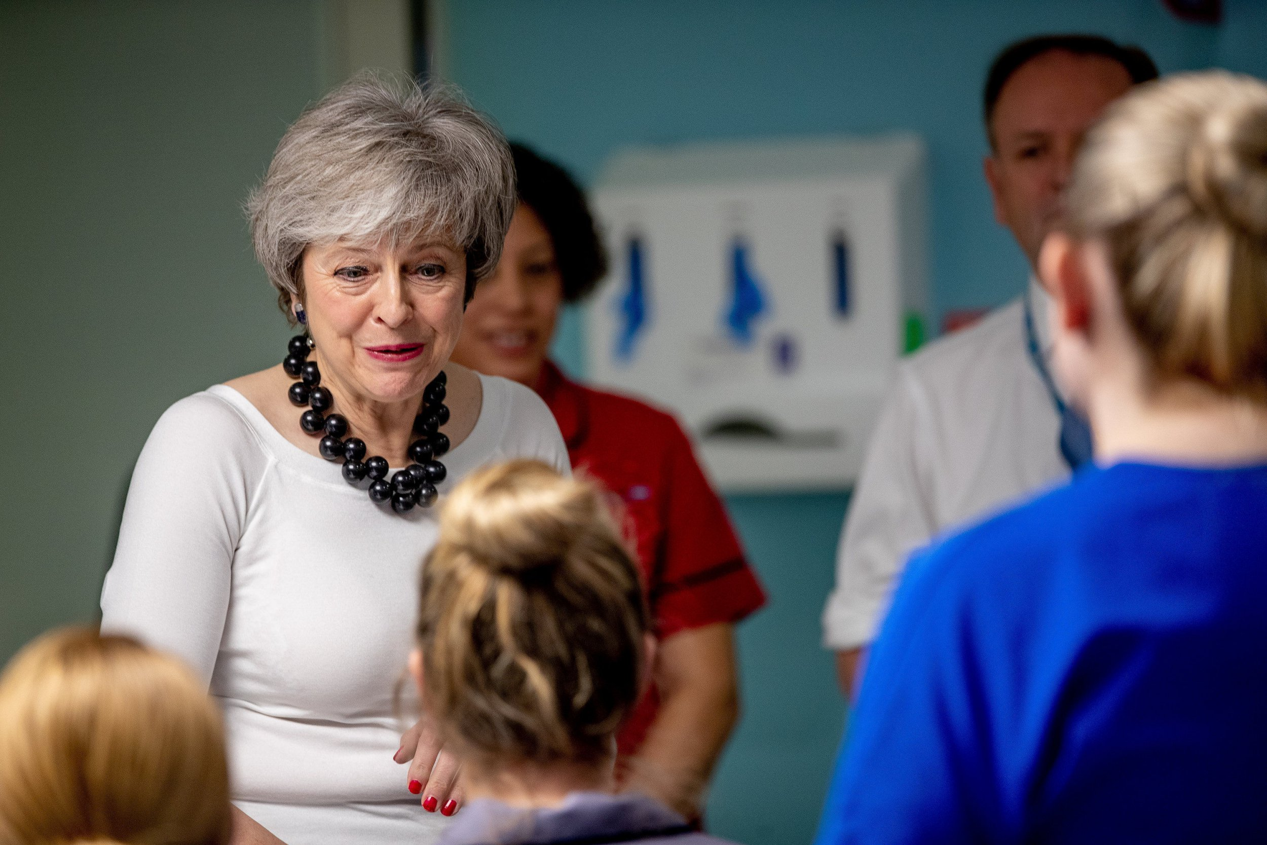 Prime Minister Theresa May visiting the wards at Alder Hey Children's Hospital, Liverpool where they launched the NHS Long Term Plan. PRESS ASSOCIATION Photo. Picture date: Monday January 7, 2019. See PA story POLITICS Plan. Photo credit should read: Charlotte Graham/Daily Telegraph/PA Wire