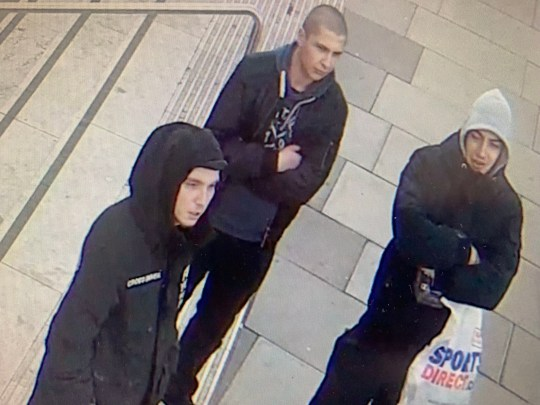 Metropolitan Police detectives have issued this image of three men they are looking to identify following a homophobic assault on New Year's Day close to the National Theatre on London's Southbank. PRESS ASSOCIATION Photo. Issue date: Tuesday January 8, 2019. The victims, aged 28 and 31, who were holding hands, suffered facial injuries and bruising in the assault. See PA story POLICE Homophobic. Photo credit should read: Metropolitan Police/PA Wire. NOTE TO EDITORS: This handout photo may only be used in for editorial reporting purposes for the contemporaneous illustration of events, things or the people in the image or facts mentioned in the caption. Reuse of the picture may require further permission from the copyright holder.