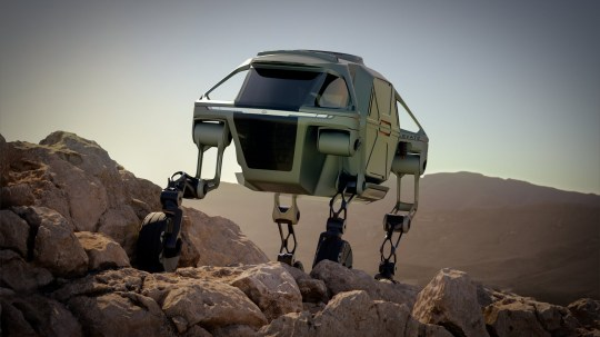 """A car which can climb walls and step over holes thanks to its robotic LEGS could transform the way rescue teams operate in disaster zones. See SWNS story SWBRlegs. More than 10,000 people died in natural catastrophes in 2017, with an estimated 201 million needing international humanitarian assistance. One of the problems is reaching those affected - and Hyundai has now unveiled Elevate, a concept vehicle which blends technology found in electric cars and robots to cover terrain beyond the limitations of even the most capable off-road vehicle. Elevate can be driven by first responders to a location like a traditional electric car. But when the terrain gets tough, it can use its """"highly dexterous"""" robotic legs to move in any direction. It can climb a 5ft wall, step over a 5ft gap, walk at 3mph over tricky terrain, and achieve a 15ft wide wheelbase, all while keeping its body and passengers completely level. The legs, which can 'walk' like a mammal or reptile, also fold up into a stowed drive-mode, where power to the joints is cut, and the use of an integrated passive suspension system maximizes battery efficiency."""