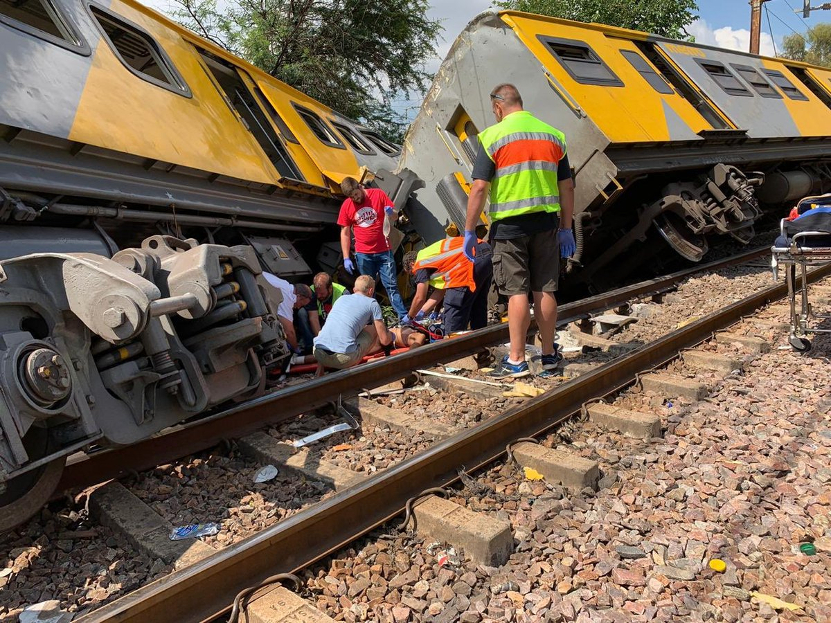 METRO GRAB - taken from Abramjee with permission At least two dead and '150 injured' in head-on train collision in South Africa https://twitter.com/Abramjee Credit: Abramjee