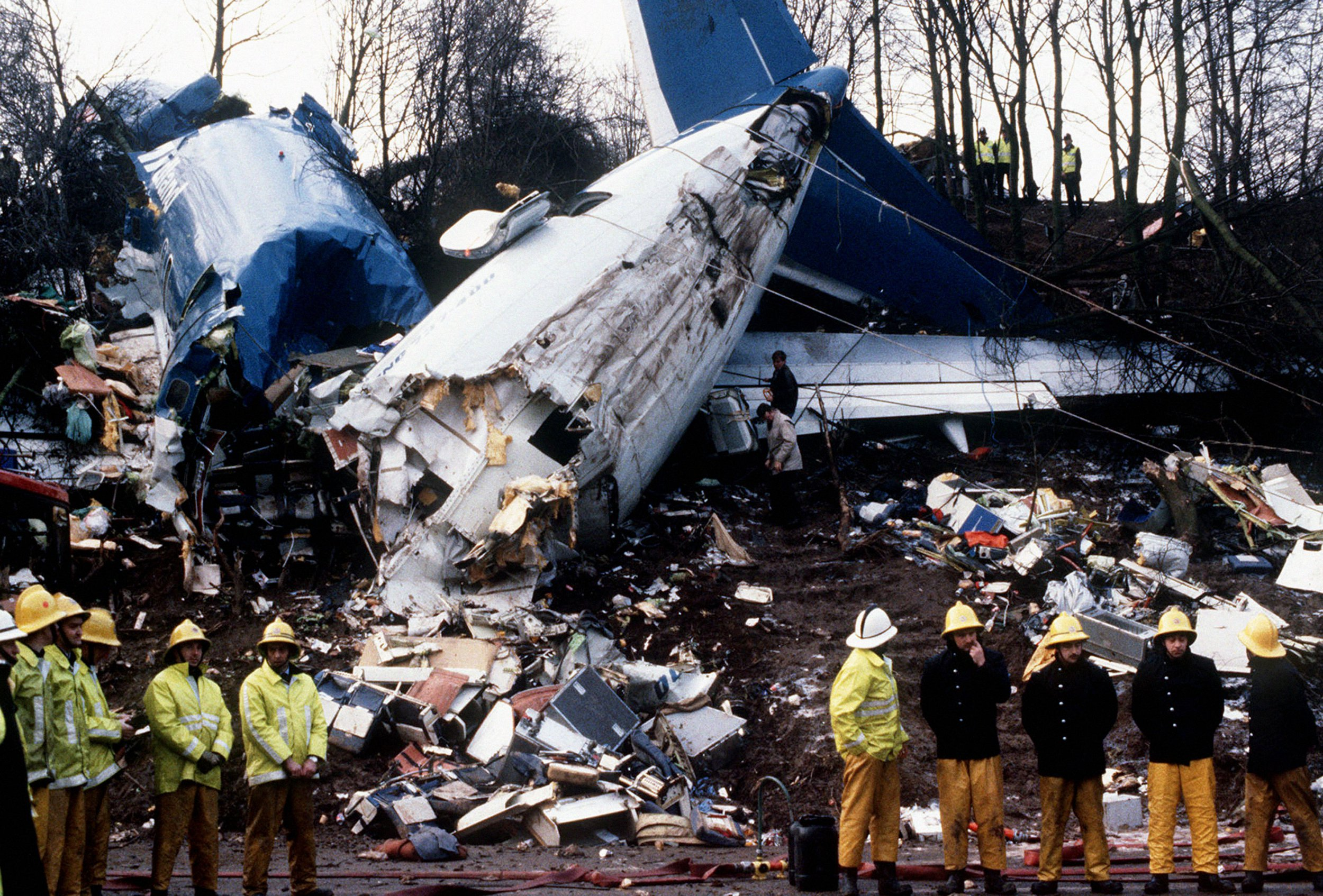 File photo dated Jan 1989 of a Belfast-bound British Midland Boeing 737 which crashed on an embankment of the M1 at Kegworth, on the approach to East Midlands airport, after suffering engine trouble on the night of January 8, 1989.